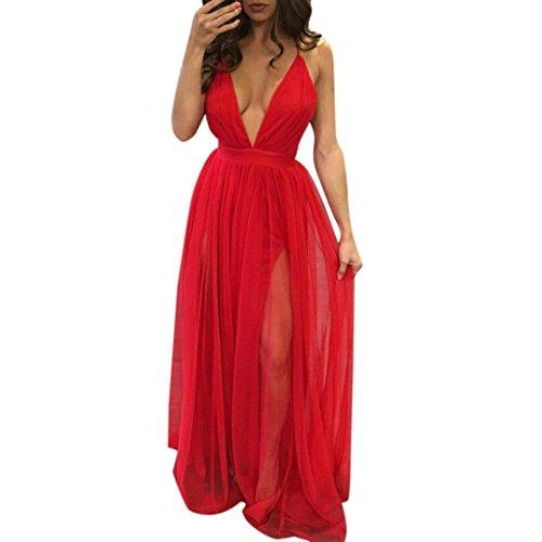 Kimloog Women Deep V Neck Sleeveless Backless Ankle-Length Sundress Clubwear Solid Straps Long Dress (M, Red) by Kimloog