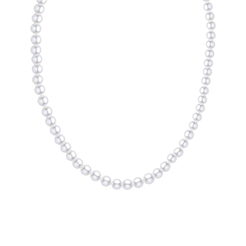 Sterling Silver AA Quality White Freshwater Cultured Pearl Necklace, 18 Inch