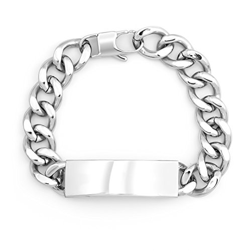 Eve's Addiction Personalized Stainless Steel Men's Curb Link ID Bracelet, 8 inches