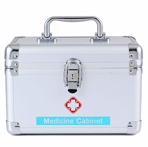 (Medical Box with Lock - First Aid Emergency Medicine Case Drugs Storage Combination Compartments Medication Small Cabinet Locking Personal Security File Box, Letter Size)