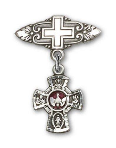 Icecarats Créatrice De Bijoux En Argent Sterling Rouge 5 Directions Broche De Badge Charme Avec Une Croix X 3/4