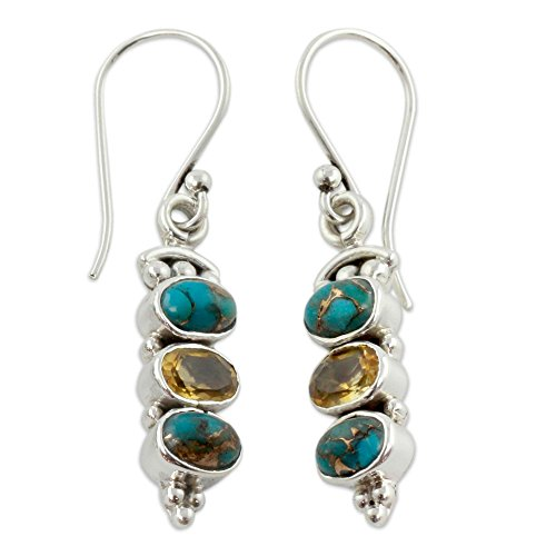 - NOVICA Citrine and Reconstituted Turquoise Stone .925 Sterling Silver Earrings, Golden Mystique'