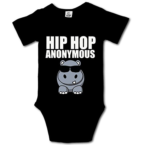 WWTBBJ-B Hip Hop Funny Hippo Printed Infant Baby Girl Boys Short Sleeve Bodysuit Jumpsuit Outfits by WWTBBJ-B