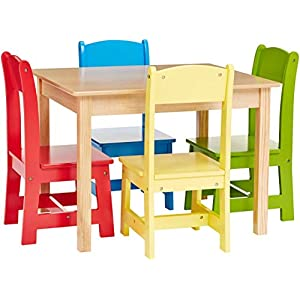 Phoenix Home Fermo Kid's Wood Table and Primary-Color Chair Set