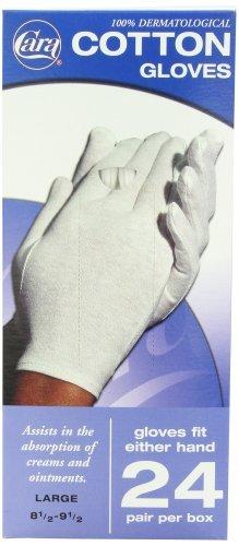 CARA Dermatological Cotton Gloves, Large, 24 Pair by Cara