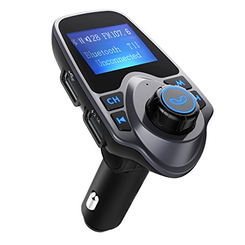 FM-Transmitter, OMorc Bluetooth KFZ Wireless Radio Adapter, FM Transmitter Empfänger mit Mikrofon, 2 Auto USB Ladegerät (5V/2,1A Ausgang), 3,5mm AUX-Eingang mit 1,44-Zoll-Display,TF Karte Slot für Handy iPhone 7/7 Plus/SE/6S/6Plus, Samsung Galaxy S7/S6/Note 5 und andere ios / Android Smartphones usw.