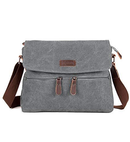 (Degohome Canvas Satchel Bag Shoulder Bag Crossbody Sling Bag for Men and Women (grey))