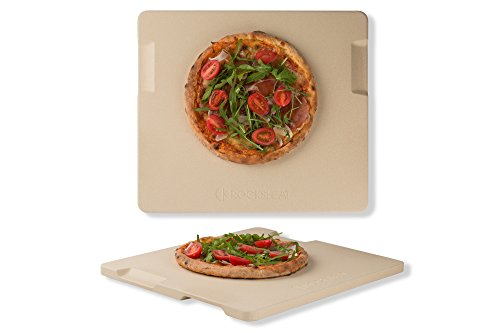 (Pizza Stone Baking & Grilling Stone, Perfect for Oven, BBQ and Grill. Innovative Double - faced Built - in 4 Handles Design (14