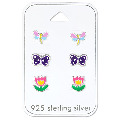 Price comparison product image 925 Sterling Silver Hypoallergenic (SET OF 3) Flower , Butterfly, Dragonfly Set Stud Earrings for Girls or Women 30771