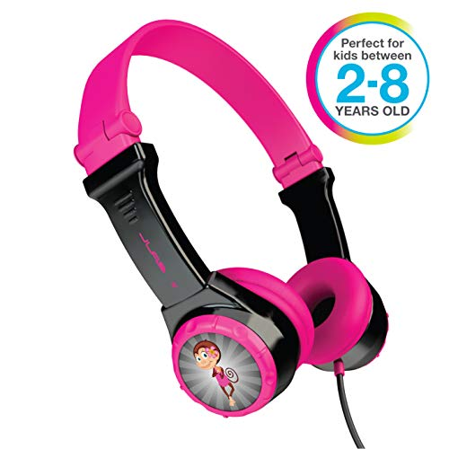 JLAB JBuddies Folding Kids Wired Headphones | Toddler Headphones | Noise Isolation | Kids Safe |Volume Limiting Headphones | Headphones for Children | Black/Pink