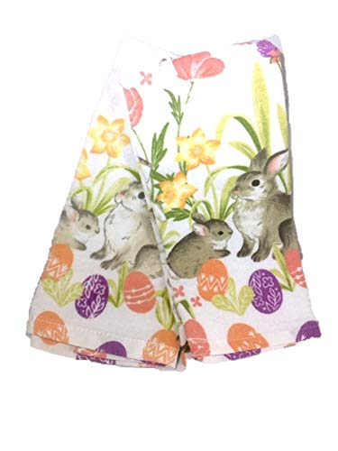 (Celebrate Easter Together Bunnies with Flowers and Eggs Kitchen Towel Set of 2)