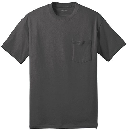 - Joe's USA Pocket Tees - Mens 50/50 Cotton/Poly Pocket T-Shirt-5XL-Charcoal