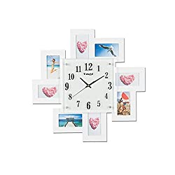 YSRHome Silent Non Ticking Vintage Modern Decorative Photo Frame Fashion Photo Studio White 50CM Wall Clocks for Living Room Bedroom Kitchen Office, Easy to Read