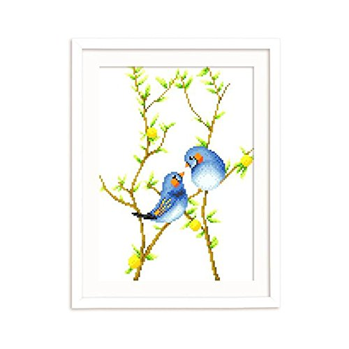 Count Stamped Cross Stitch (DOMEI Stamped Cross Stitch Kit, Two Birds on Tree Branch, 11.4 x 14.6 inches)