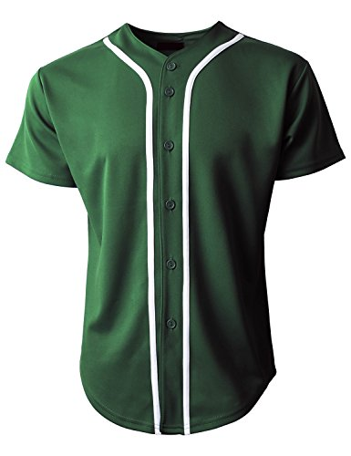 Hat and Beyond Mens Baseball Jersey Button Down T-Shirts Plain Short Sleeve (Medium, 1up01_h. Green/White)