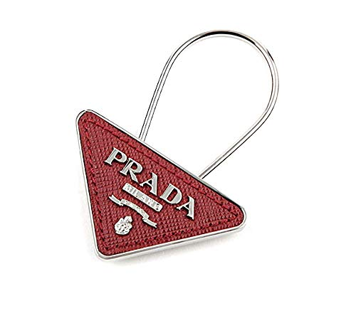 (Prada Triangle Logo Saffiano Leather Keyring, Rubino (Red) 2PP301)