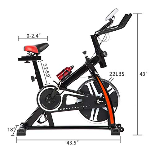 BestMassage Cycling Bike Exercise Bike Pro Indoor Cycling Spin Bike Trainer Bicycle Cardio Fitness Heart Pulse W/LED Display Stationary Indoor Pro Indoor Training Equipment by BestMassage (Image #5)