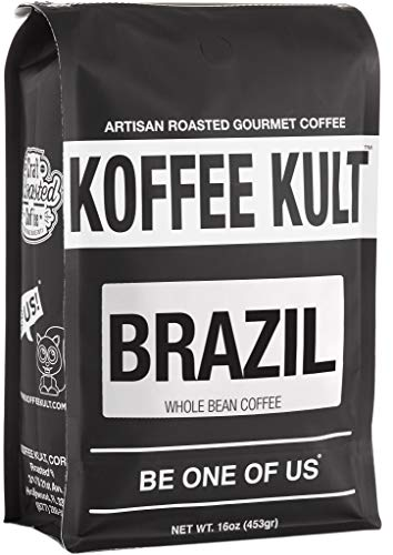 Koffee Kult Brazil Whole Bean Coffee Artisan Roasted (16oz Whole Bean) Review