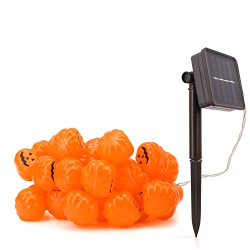 Bonison Halloween Solar Powered LED Jack O Lantern String Light, 40 LED Pumpkin Light, Perfect for Halloween Outdoor Decoration, Patio, Tree, House. Easy to Install.