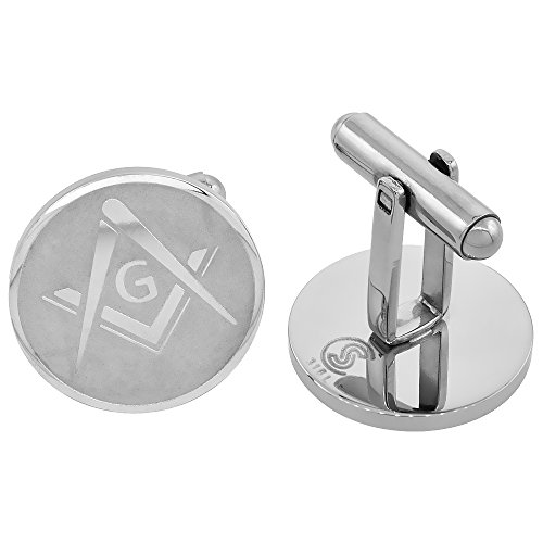Stainless Steel Masonic Symbol Cufflinks Square and Compass Round Beveled Edge, 3/4 inches - Edge Round Cufflinks