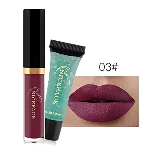 (Hunputa Madly MATTE Lipstick Non-stick Cup Waterproof Lipgloss + Remover Gel)