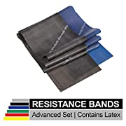 TheraBand Resistance Band Set, Professional Latex Elastic Bands for Upper & Lower Body & Core Exercise, Physical Therapy, Lower Pilates, At-Home Workouts, and Rehab, 5 Foot, Blue & Black, Advanced