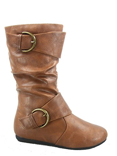 Link Klein-80k Girl's Kid's Cute Faux Leather Two Buckle Zipper Flat Heel Mid Calf Boot Shoes (1 B(M) US, Tan)