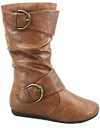 Klein-80k Girl's Kid's Cute Faux Leather Two Buckle Zipper Flat Heel Mid Calf Boot Shoes