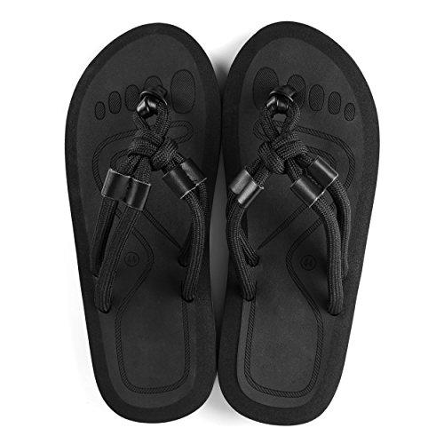 Aerusi Pour La Plage Et Au-delà Des Hommes Glisser Plat Sandale Tong Flip Noir