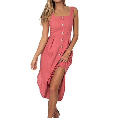 Womens Party Dress, JOYFEEL ❤️ Ladies Sleeveless Button Solid Sundress Casual Bandage Sexy Backless Split Midi Dress Pink
