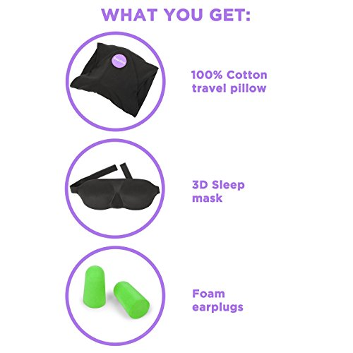 Travel Pillow Set : 100% Cotton Travel Neck Pillow with Memory Foam Support, Sleep Mask, Earplugs - Airplane Pillows - Flight Pillow Wrap for Sleeping Travel Accessories - Travel Essentials Black by Prokitline (Image #8)