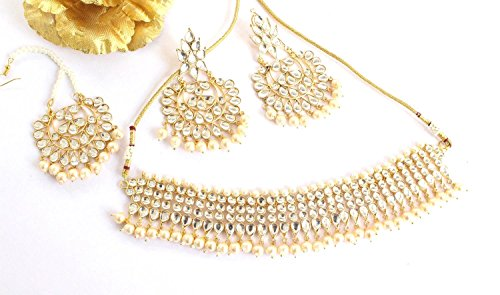 (Bridal Jadau Gold Kundan Necklace Jewelry Set/Gold Earrings Tikka/Bridal kundan)