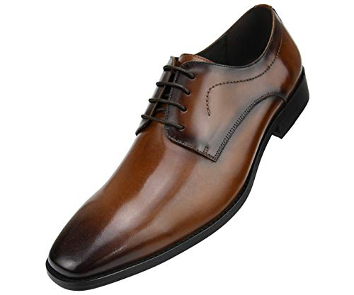 Asher Green Mens Genuine Leather Plain Toe Lace Up Oxford Dress Shoe with Wood-Like Sole, Style AG8715 Dark-tan
