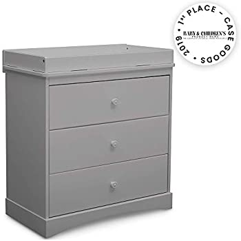 Image of Delta Children Sutton 3 Drawer Dresser with Changing Top, Grey Home and Kitchen