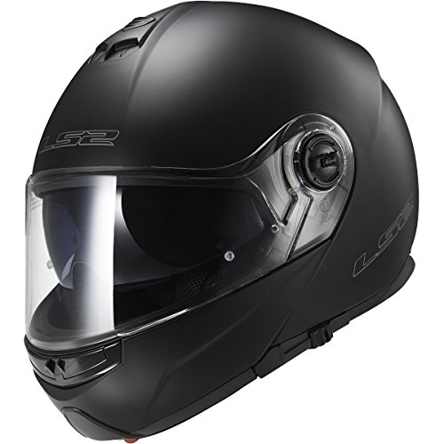 LS2 Helmets Strobe Solid Modular Motorcycle Helmet with Sunshield (Matte Black, Medium) by LS2 Helmets