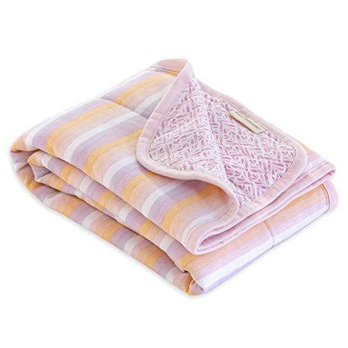 Burt's Bees Baby Reversible Blanket, Multipurpose Nursery & Tummy Time Organic Jersey Cotton Baby Blanket, Sunset Stripe