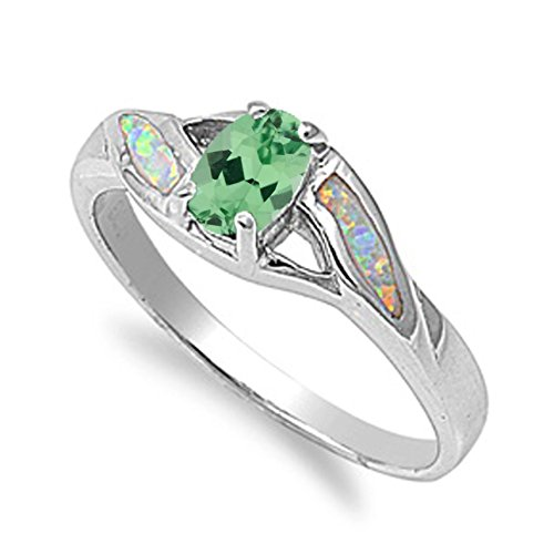 (925 Sterling Silver Oval Faceted Natural Genuine Green Emerald Ring Size 8)