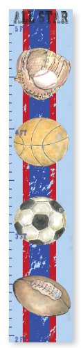 (The Kids Room by Stupell Multi-Sport Blue and Red Striped Growth Chart, 7 x 0.5 x 39, Proudly Made in USA)