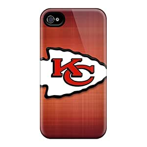 Shock Absorption Cell-phone Hard Covers For Iphone 4/4s With Custom Nice Kansas City Chiefs Pictures TimeaJoyce