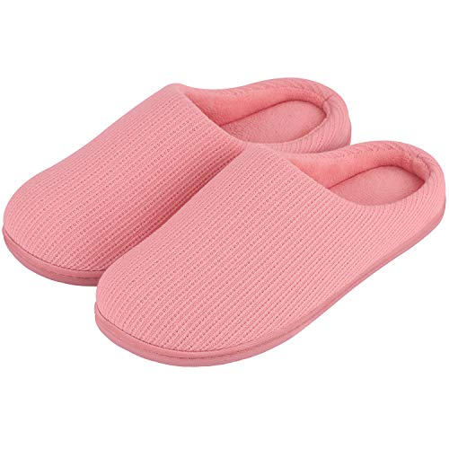 Women's Comfort Soft Memory Foam Fleece Lining House Slippers Slip On Clog House Shoes (X-Large / 11-12 B(M) US, Pink)