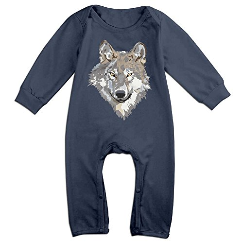 Costume Drama Tv List (Boy & Girl Infants Gray Wolf Long Sleeve Climb Romper 18 Months Navy)