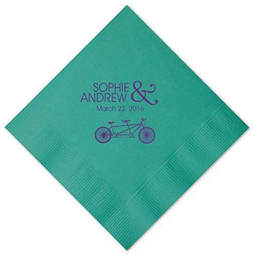 Personalized Tandem Bike Wedding Cocktail Napkins