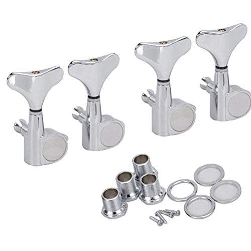 PIXNOR 4pcs 4R Bass Tuners Machine Heads Tuning Pegs (Silver)