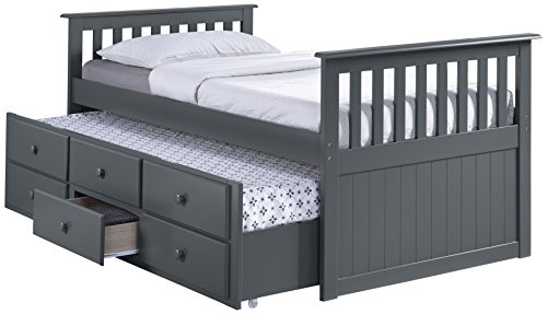 Broyhill Kids Marco Island Captain's Bed with Trundle Bed and Drawers, Twin, Gray, Twin-Sized Mattress (Not Included), Bunk Bed Alternative, Great for Sleepovers, Underbed Storage/Organization