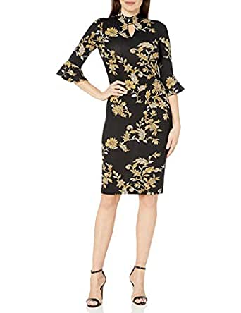 GABBY SKYE Women's 3/4 Bell Sleeve Round Neck Key Hole Midi Sheath Dress, Black/Gold, 14