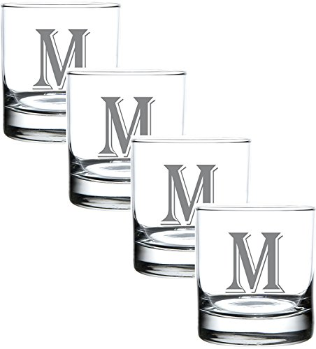 M Monogram Engraved Glass Multi Purpose Beverage Rocks Occasion