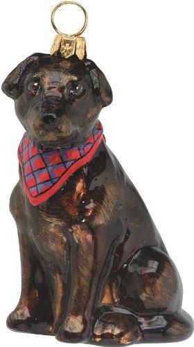 (Joy to the World Collectibles European Blown Glass Pet Ornament, Labrador Retriever Chocolate with Bandana)