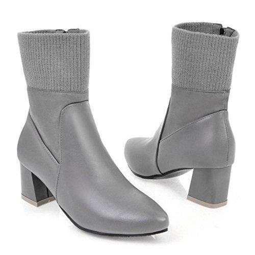 COOLCEPT Botas de Tacon Ancho para Mujer Gray