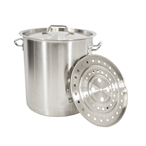 GasOne Stainless Steel Stock Pot with Steamer 6-Gallon with lid/Cover & Steamer Rack, Tamale, Dumpling, Crawfish, Crab Pot/Steamer Thickness 1mm Perfect for Homebrewing & Boiling Sap for Maple Syrup by GasOne