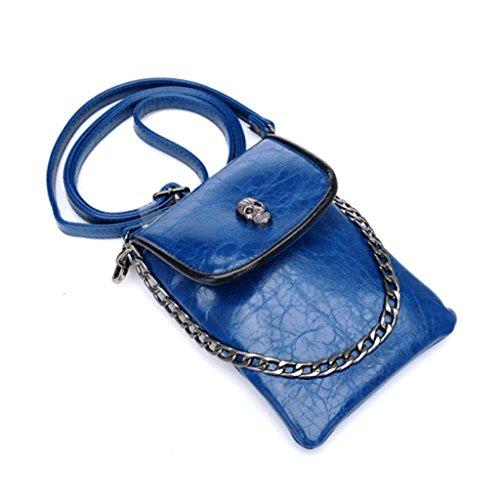 Mino para Mini Móvil Azul PU Mujer Oriskey Crossbody Bolso Bandolera Cuero de Teléfono cráneo de Bolso de xnwISCR6qv